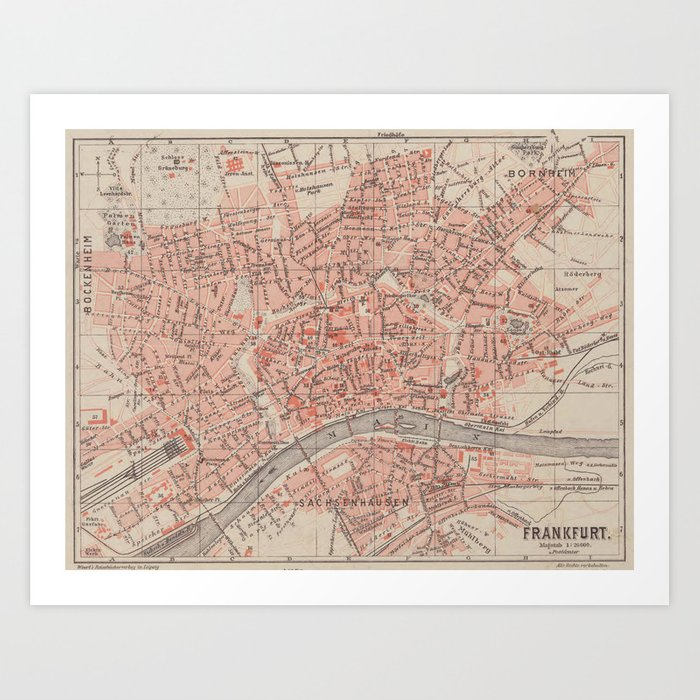 Map Of Germany 1900.Vintage Map Of Frankfurt Germany 1900 Art Print By Bravuramedia