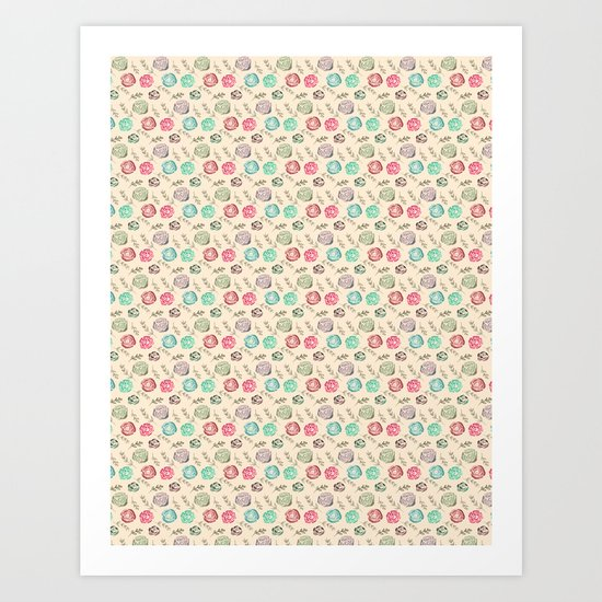 Watercolour Tiny Roses Art Print