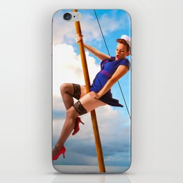 """""""Ahoy!"""" - The Playful Pinup - Classic Sailor Pinup Girl by Maxwell H. Johnson iPhone Skin"""