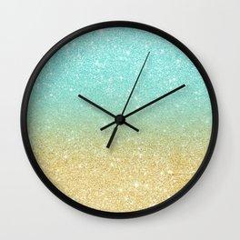 Modern robbin egg blue glitter ombre gold glitter Wall Clock