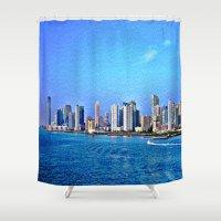 new york skyline Shower Curtains featuring New York  Skyline   by Judy Palkimas