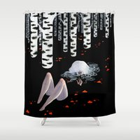 birch Shower Curtains featuring Birch forest by Renee Nault