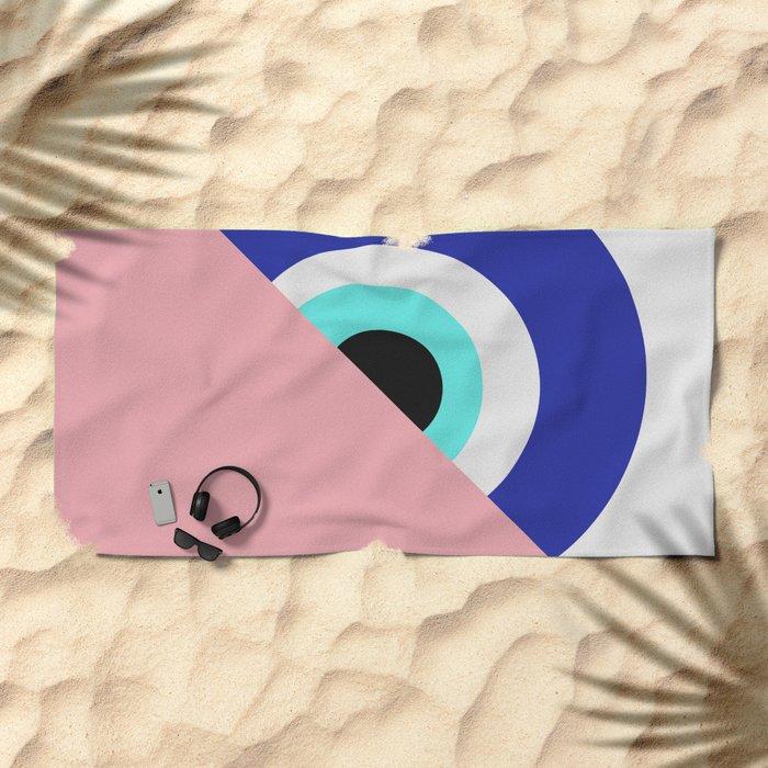 Devil eye pink hide Beach Towel