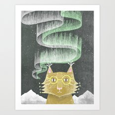 Lynx in Northern Lights Art Print