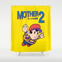 earthbound Shower Curtains featuring Mother 2 / Earthbound / Super Mario Bros. 3 Style by Studio Momo╰༼ ಠ益ಠ ༽