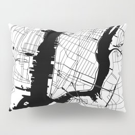 New York City White on Black Pillow Sham
