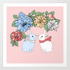 Rabbits and flowers Art Print