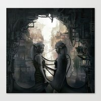 twins Canvas Prints featuring Twins by aStripedUnicorn