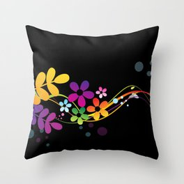 Cut Paper Flowers and Ferns on Black  15K Throw Pillow