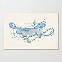 otters Canvas Prints featuring Otters by Grace Sandford