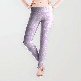 Lavender Figure Skating Subway Style Typographic Design Leggings