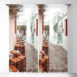 Sifnos Street view in Greece with Traditional Bars and Houses, Cyclades islands in Aegean Sea, Europe Travel Photography Blackout Curtain