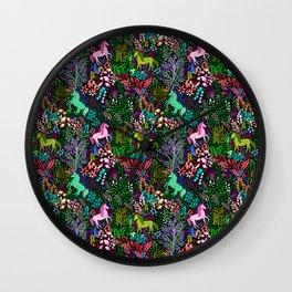 Magical Rainbow Unicorn Forest Wall Clock