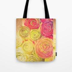 Red Gold and Green -- Ranunculus Flowers Still Life Painterly Tote Bag
