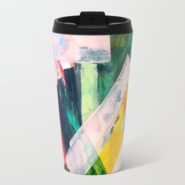 Livin' Easy - a bright abstract piece in blues, greens, yellow and red Travel Mug