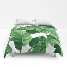 Tropical banana leaves IV Comforters