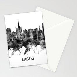 Lagos Nigeria Skyline BW Stationery Cards