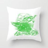 yoda Throw Pillows featuring Yoda by DanielBergerDesign
