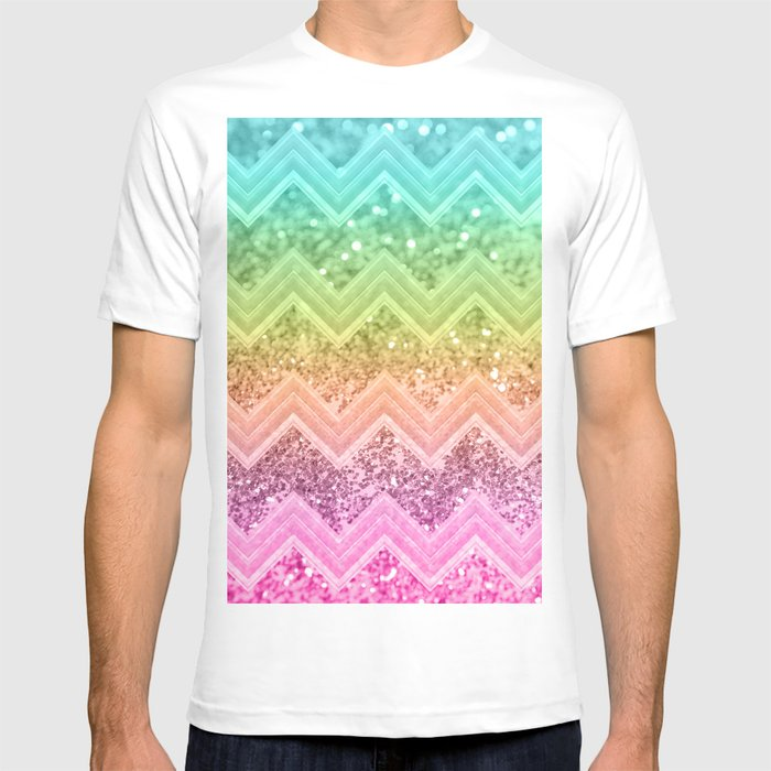 c40f87776122 Rainbow Glitter Chevron #1 #shiny #decor #art #society6 T-shirt by ...