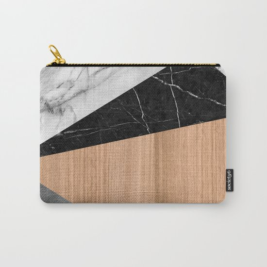 Marble, Garnite, Teak Wood Abstract Carry-All Pouch