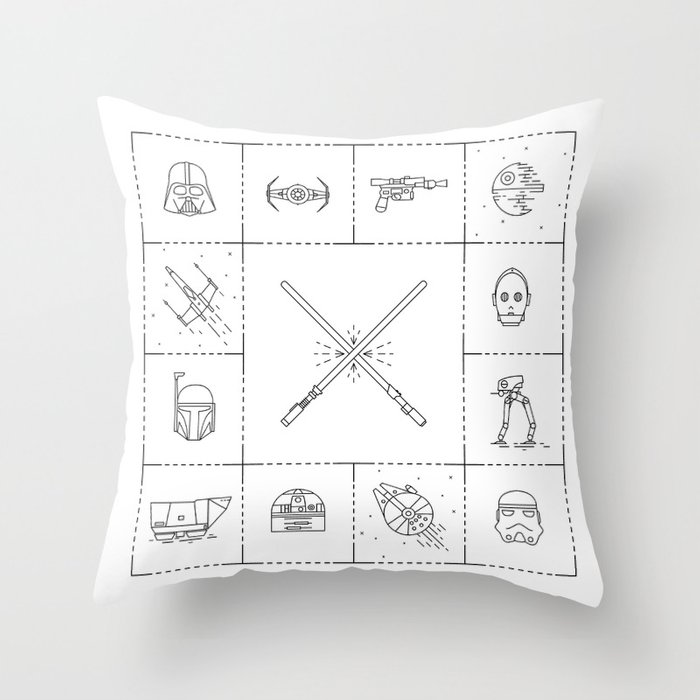 Iconic Star Lines Wars Throw Pillow