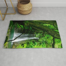 Waterfall in Azores islands Rug