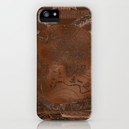 Rose gold and copper antique world map with sail ships iPhone Case