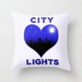 I Love City Lights Throw Pillow