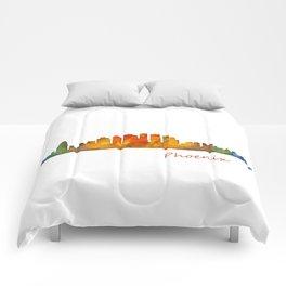 Phoenix Arizona, City Skyline Cityscape Hq v1 Comforters