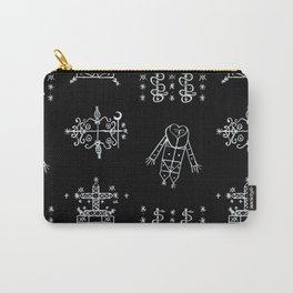 Papa Legba + Baron Samedi + Gran Bwa + Damballah-Wedo Voodoo Veve Symbols in Black Carry-All Pouch