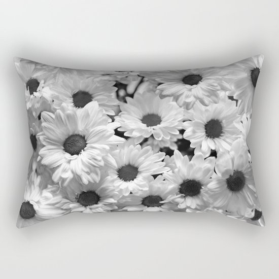 Daisy Chaos in Black and White Rectangular Pillow