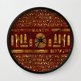 Golden Egyptian Sphinx on red leather Wall Clock