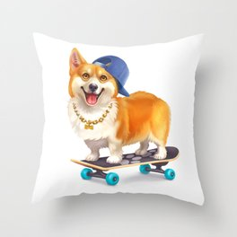 Skater Corgi Throw Pillow