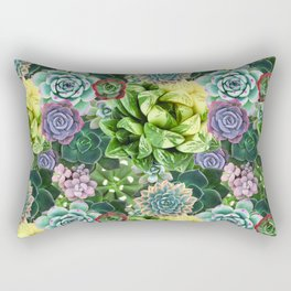 Leaf & Clay Succulent Pattern Rectangular Pillow