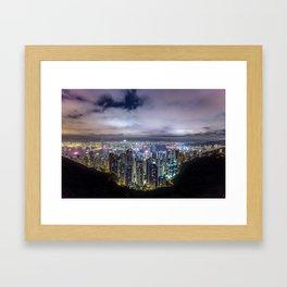 Beautiful Hong Kong city dark night view Framed Art Print