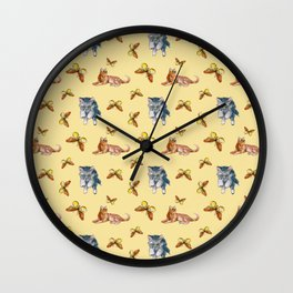 Cats and Butterflies Wall Clock