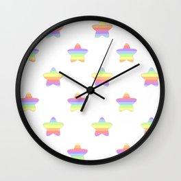 Mini Pastel Rainbow Horizontal Striped Stars Wall Clock