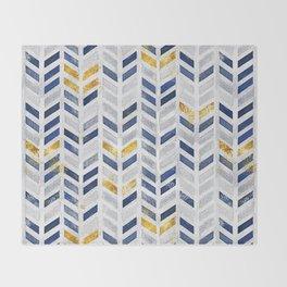Herringbone chevron pattern.Indigo faux gold acrylic canvas Throw Blanket