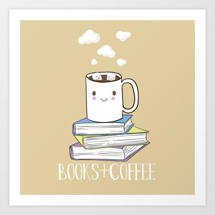 Books + Coffee Art Print
