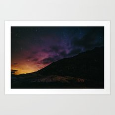 Night sky #stars #mountains Art Print