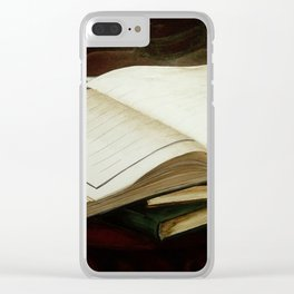 Books, acrylic on canvas Clear iPhone Case