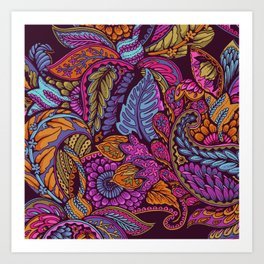 Paisley Dreams - sunset colors Art Print