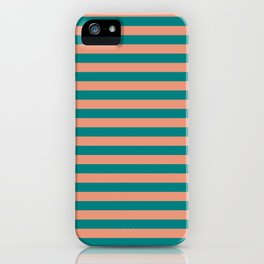 Dark Salmon & Teal Colored Lined Pattern iPhone Case