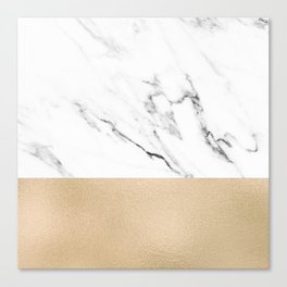 White Marble with Black and Copper Bronze Canvas Print