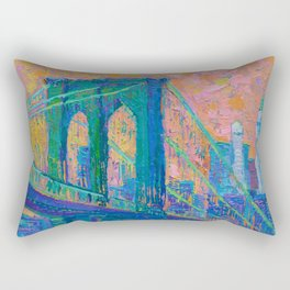 """Brooklyn Bridge"" palette knife urban city landscape painting by Adriana Dziuba Rectangular Pillow"