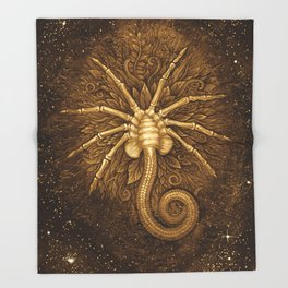 Facehugger (Sepia) Throw Blanket