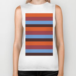 Stripes Orane, Blue & Brown Biker Tank