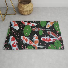 Koi With Fallen Cherry Blossom Rug