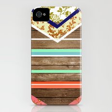chevron  wood design iPhone (4, 4s) Slim Case