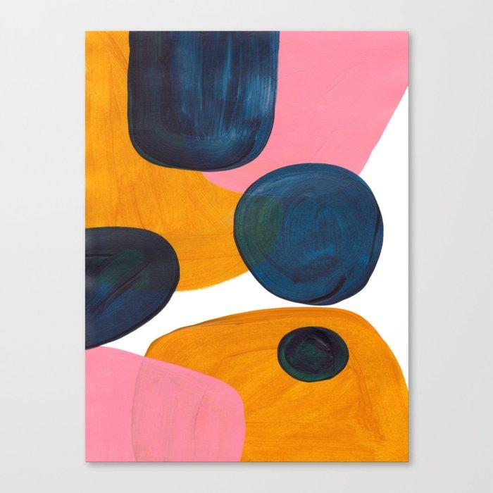Mid Century Modern Abstract Minimalist Retro Vintage Style Pink Navy Blue Yellow Rollie Pollie Ollie Leinwanddruck